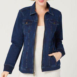 Denim & Co. Knit Denim Zip-Front Jean Jacket L343